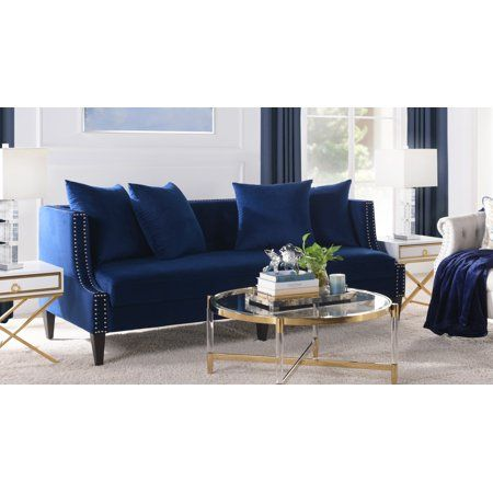 Caroline Tufted Recessed Arm Tuxedo Sofa Navy Blue Walmart Com Navy Blue Living Room Sofa Love Seat