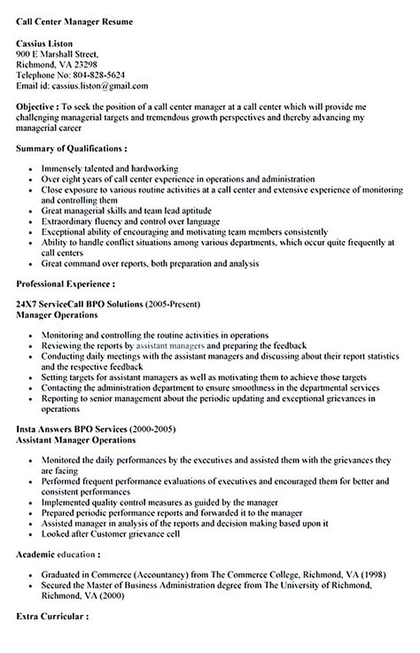 When making call center supervisor resume, you should first fill - call center manager resume