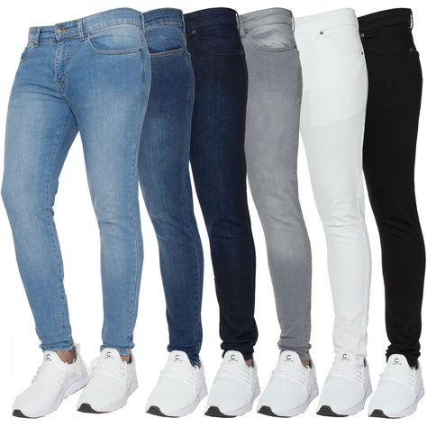 Enzo Mens Skinny Jeans Denim Super Stretch Straight Trouser Pants All Waist Size