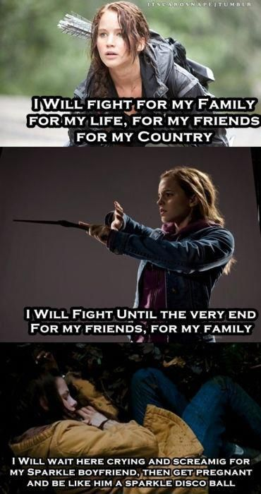 Soooo True Why Twilight Could Never Compare To The Superiority Of Hunger Games And Harry Harry Potter Twilight Harry Potter Memes Hilarious Hunger Games Memes