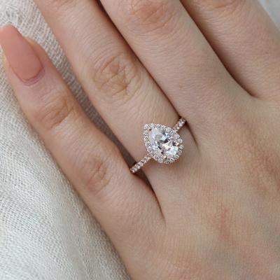 Beautiful Delicate Pear Cut Diamond 14K Yellow Gold Chain Ring Size 6 34