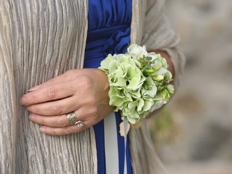 green hydrangea wrist corsage