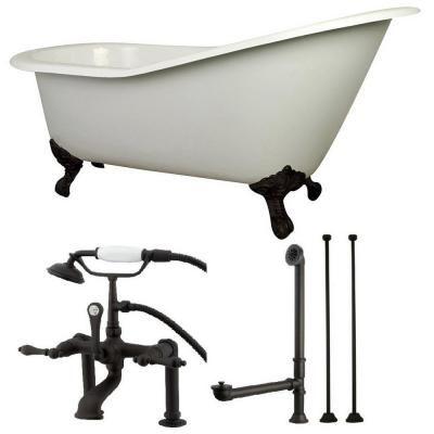 Aqua Eden Slipper 62 In Cast Iron Clawfoot Bathtub In White With