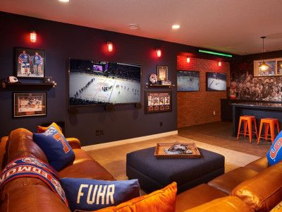 Sports room decorating ideas decoration great man cave designs interior home design within lovely 7 Man Cave Room, Man Cave Diy, Man Cave Basement, Man Cave Home Bar, Basement Sports Bar, Cave Bar, Man Cave Designs, Hockey Man Cave, Sports Man Cave