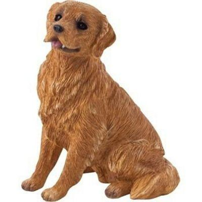 Golden Retriever Figurine Sitting Hand Painted Sandicast Dog