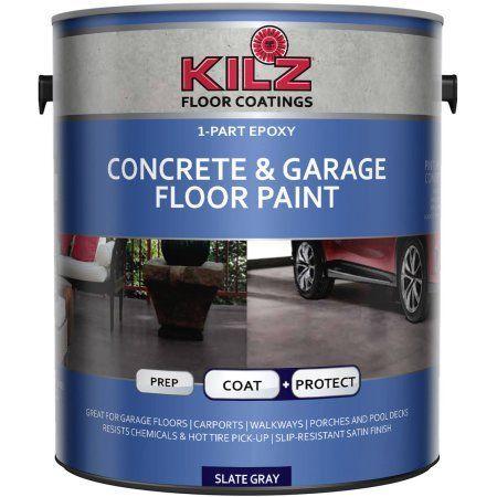 Kilz 1 Part Epoxy Acrylic Interior Exterior Concrete And Garage Floor Paint Satin 1 Gal Garage Floor Paint Painted Floors Garage Floor