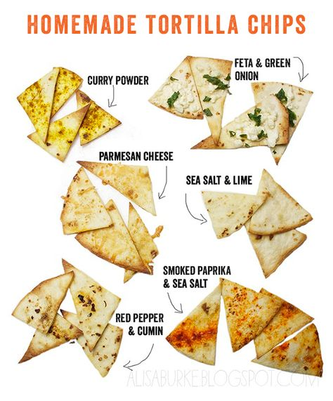 homemade tortilla chips...looks like flour tortillas are used in these pics -- I have much better luck with corn tortillas, but these flavors sound yummy!