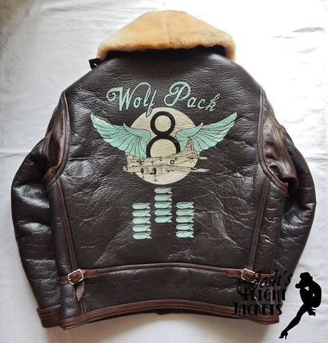 WWII US Army Air Force Nose Art Pin up Hand Painted Flight Jacket ANJ-4 Eastman ..., #Air #AN...