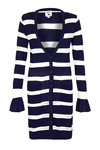 YUMI Longline Striped Pointelle Cardigan Navy | Pointelle