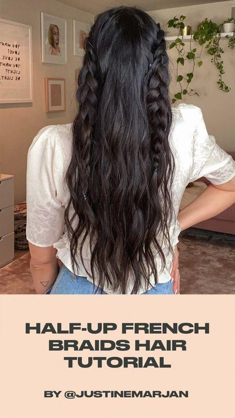 Half Up French Braids Hair Tutorial by Justine Marjan