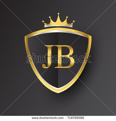 Initial logo letter JB with shield and crown Icon golden color