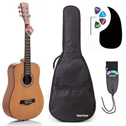 Acoustic Guitar Bundle Junior Travel Series By Hola Music With D Addario Exp16 Steel Strings Padded Gig Bag Guitar Str Guitar Strap Acoustic Guitar Guitar