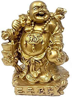 Amazon Com Bellaa 24276 Laughing Happy Buddha Holding Ingot