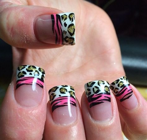 Cheetah Zebra French Manicure #nails #nailideas #nailart