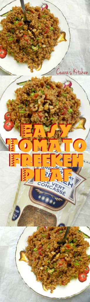A simple side dish starring the #superfood grain Freekeh. This Tomato Freekeh pilaf comes together quickly and easily, making the perfect #vegan side dish. #healthy #freekeh - Ceara's Kitchen