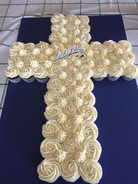 #FirstCommunion , #Confirmation #Baptism Cupcake Cross Cake #MamaDeschampsCupcakes