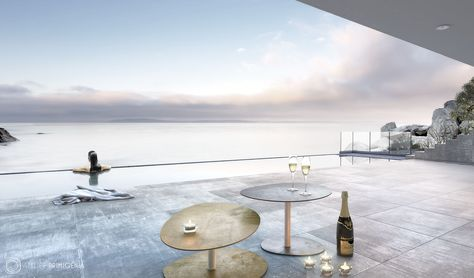 Atelier Primigenia Stones metal tables, champagne and relax in a suggestive twilight. Design by @StudioSandrini