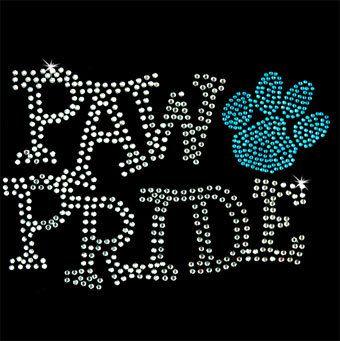 Paw Pride Dog Rhinestone TShirt motif Dog Bling Shirts Dog Tee Shirts bling…