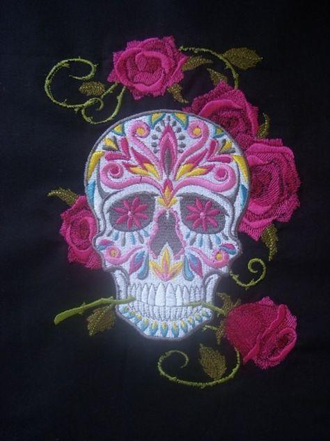 Sugar Skull with roses.