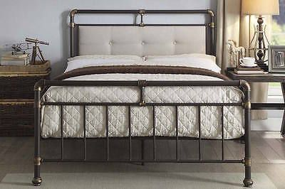 Details About Scaffold Design Rustic Metal Bed Frame Brown Bronze