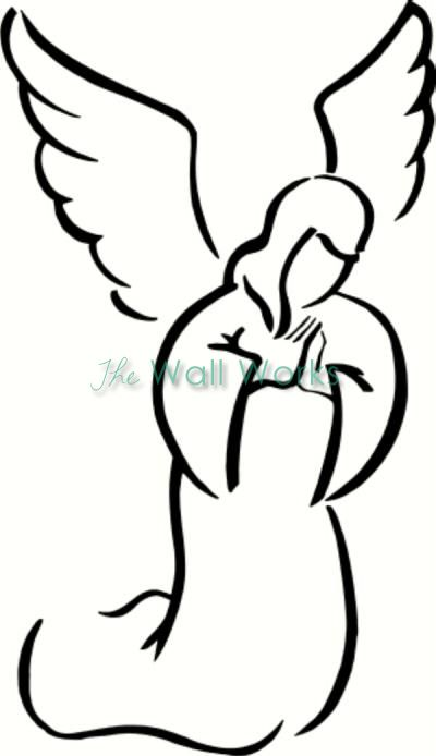 Angel Praying Wall Sticker Vinyl Decal Angel Clipart Angel Drawing Clip Art