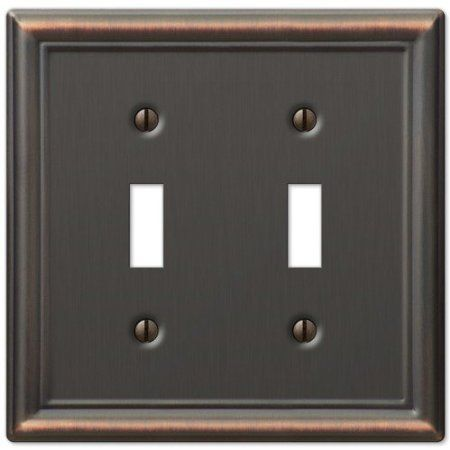 Double Toggle 2-Gang Decora Wall Switch Plate, Oil Rubbed