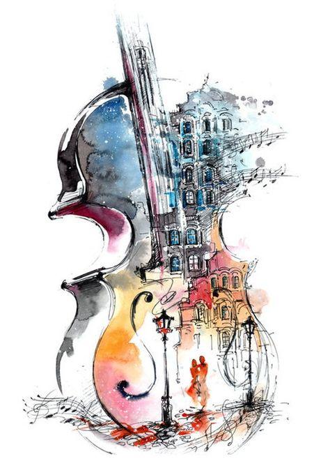 Violin Nightlife Illustration A-90984 (Art Prints, Wood & Metal Signs, Canvas, Tote Bag, Towel)