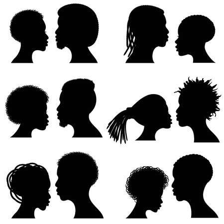 African Female And Male Face Vector Silhouettes Afro American Man And Woman Silhouette Woman Face Silhouette African American Couples
