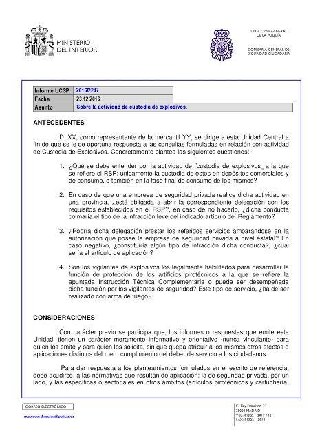 Informe Ucsp 2016 2247 Sobre La Actividad De Custodia De