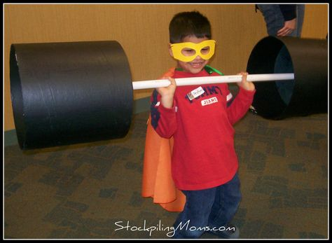 Superhero - great activity ideas - brick smashing, mighty muscles, fancy footwork, tunnel crawl, lava pit, rock of strength, ring the bell (Kenton County Public Library via stockpilingmoms)