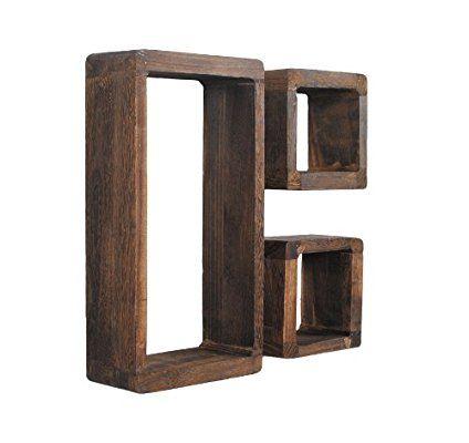 Juego de 3 estanter/ías retro en forma de cubo de madera shabby maciza marr/ón oscuro para sal/ón