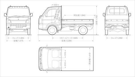 キャリイの寸法図 Kc 単位 Mm 移動販売車アイデア