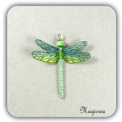 pendentif libellule soie verte 5 cm - Boutique www.magicreation.fr