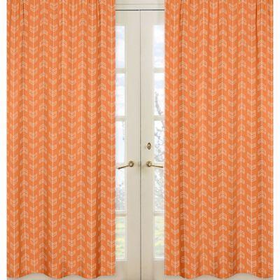Sweet Jojo Designs Arrow Window Panel Pair In Orange White Panel