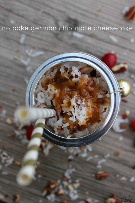 No Bake German Chocolate Cheesecake - in a jar #TasteTheSeason #Ad