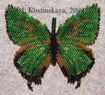 Butterfly Chrysozephyrus brilliiantinus Pattern by Katherina Kostinsky at Bead-Patterns.com