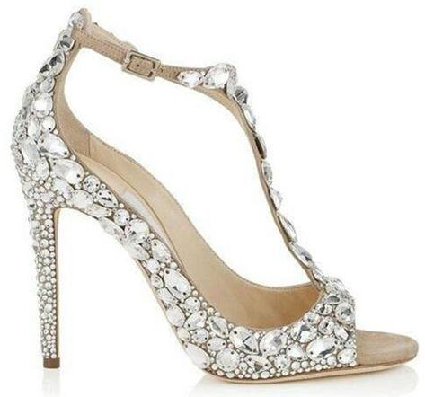 Luxury Diamond Wedding Jeweled Heel Gladiator Sandals Women