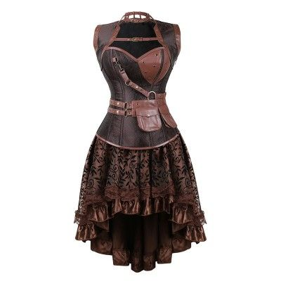 Grebrafan Faux Leather Straps Corsets with Multi Layer lace Skirt