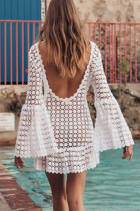 Women White Sexy Flare Sleeve Backless Lace Beach Dress Cover Up - XL