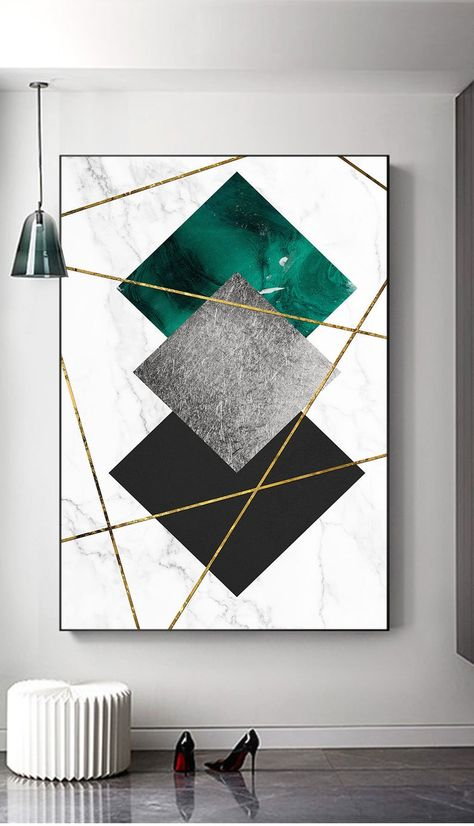 Marble background Gold Line print, wall art home decor, Geometry Emerald, Grey, Black, office decor, living room decor
