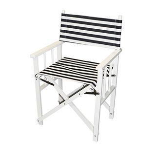 Outdoor Director Chair Blue/ White Stripe Folding Director Chair | Deck  Furniture, White