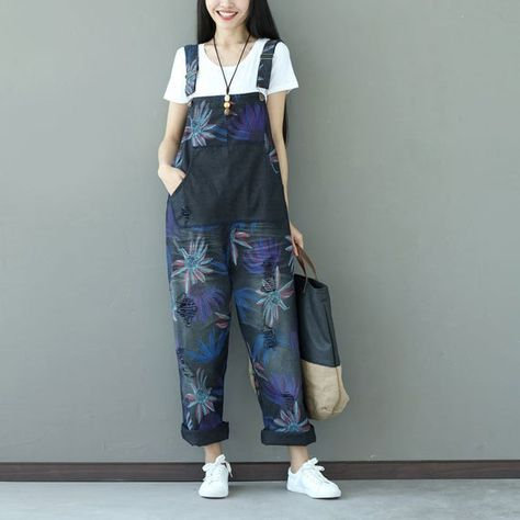 Womens Loose Fitting Printed Floral Ripped Overalls With Pockets, Womans Casual Pants,Casual Overall