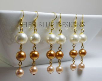 Items similar to Godiva Earrings - Ivory and Champagne