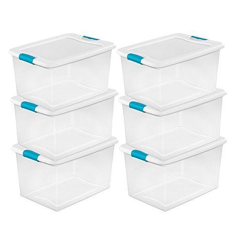 STERILITE 64 Quart Clear Storage Tote W//Lid 23-3//4x16x13-1//2