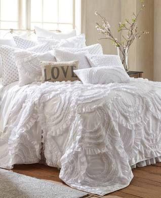 Oscar Grace Lyla Ruffled Luxury Quilt White Twin Bed Linens