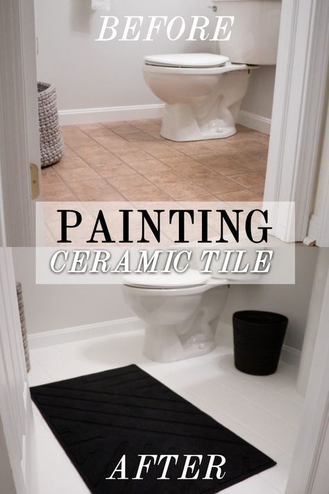 How to Paint your Ceramic Tile Floors Painting your ceramic tile bathroom floors has never been easier! Painting Ceramic Tile Floor, Ceramic Tile Floor Bathroom, Painting Bathroom Tiles, Tile Floor Diy, Painting Tile Floors, Paint For Tiles, Painting Over Tiles, Painting Tile Backsplash, Painted Bathroom Floors