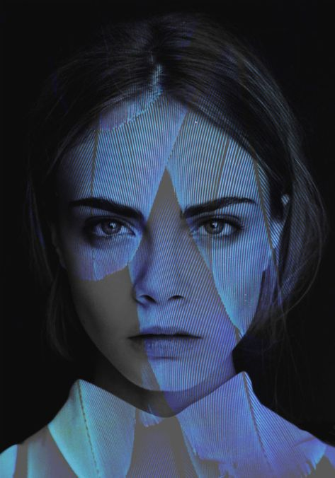 Project Idea: Floral print projected on face  Cara Delevingne - Inspiration for Photography MIdwest   photographymidwest.com   #photoghrapymidwest