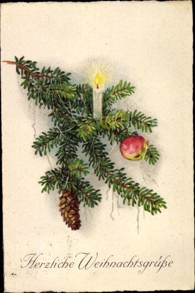 Weihnachtsbilder Tannenzweig.Ansichtskarte Postkarte Frohe Weihnachten Tannenzweig Kerze