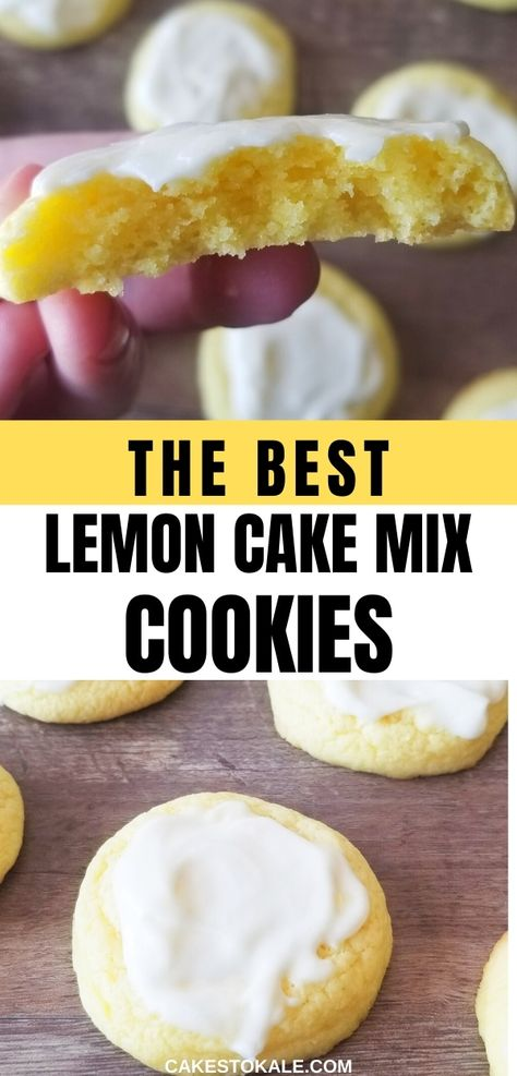 The best Lemon Cake Mix Cookies With icing.  These easy lemon cake cookies recipe is made from a box mix making it very simple but super delicious.  Try these glazed lemon cookies for your next dessert. #lemoncookies #best #icing