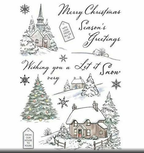 NEW Wild Rose Studio /'Winter Cottages' A5 Clear Stamp Set
